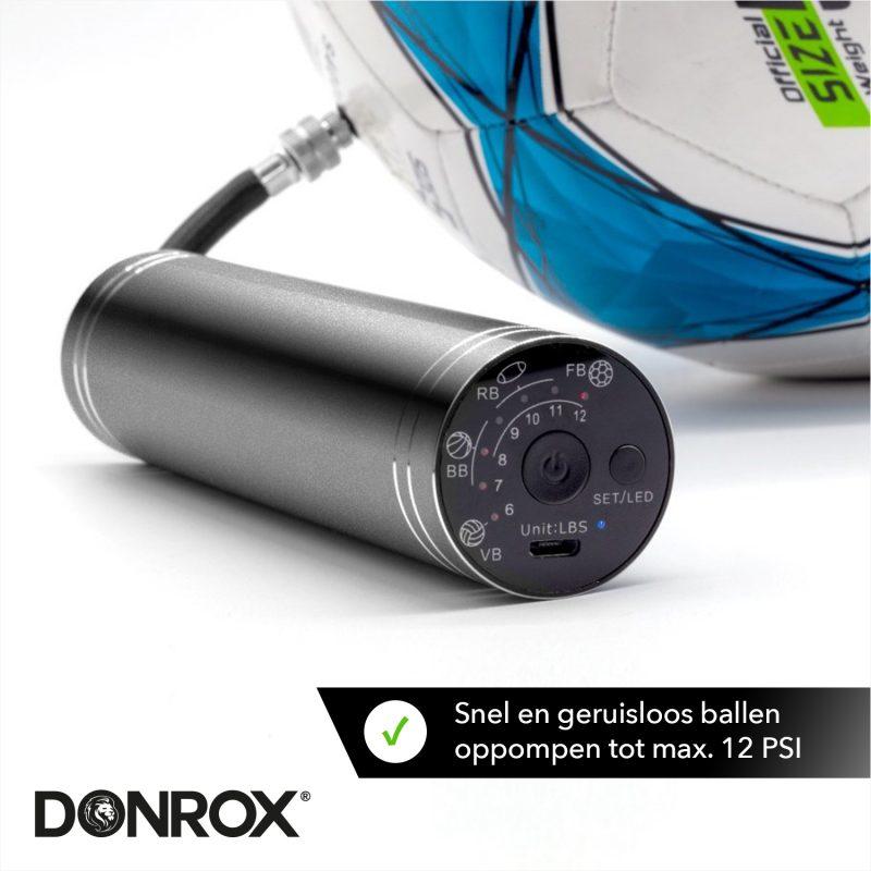 Donrox elektrische voetbalpomp met voorgeprogrammeerde standen