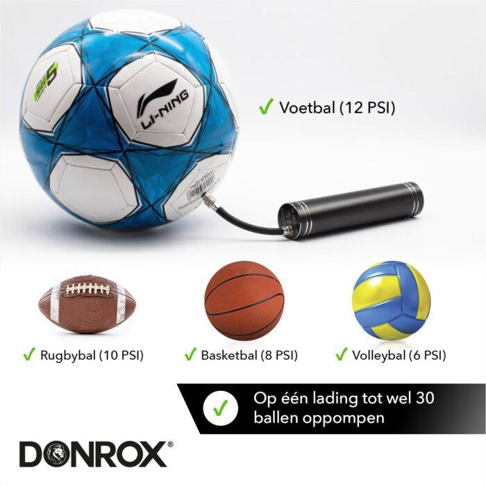 Donrox elektrische ballenpomp voor voetballen, rugbyballen, basketballen en volleyballen