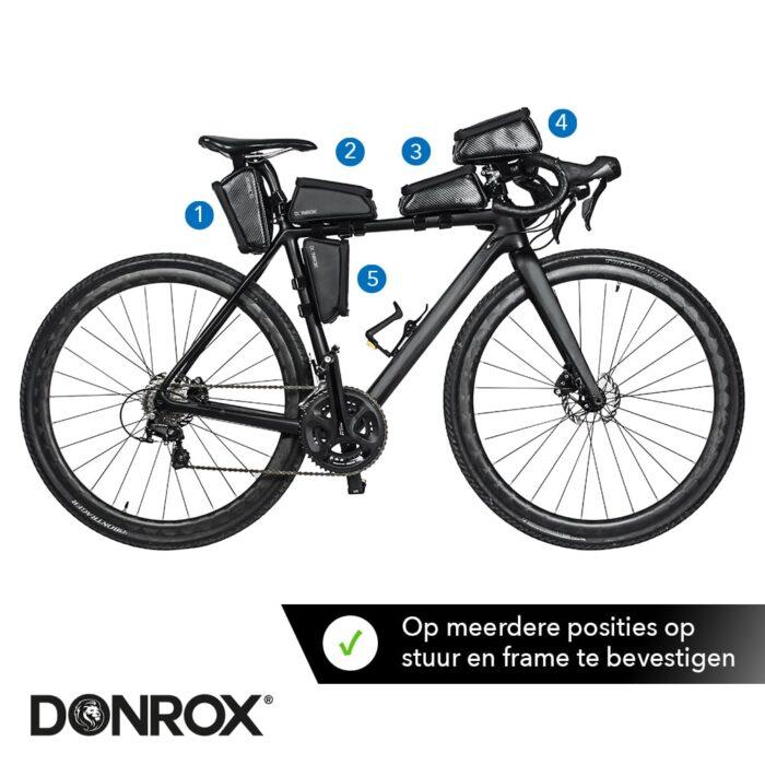 Verschillende posities Donrox fietstas voor racefiets